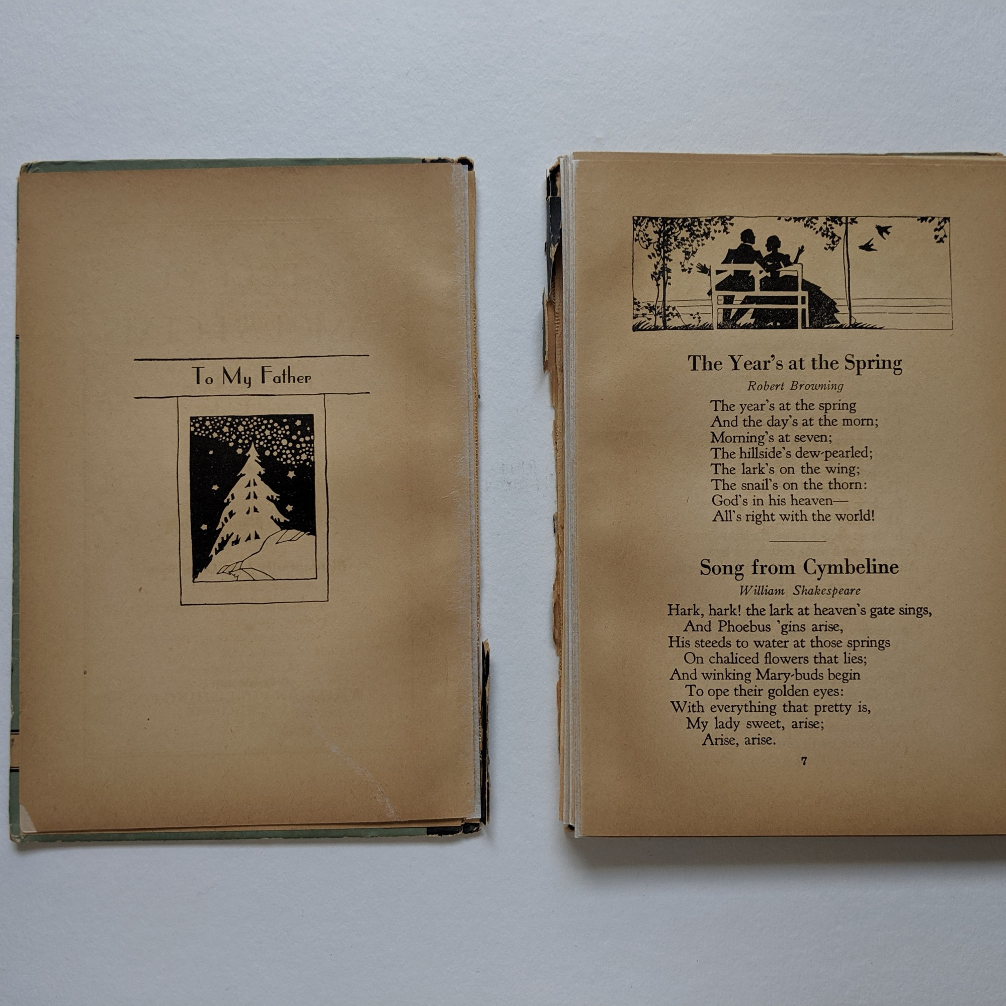 Holly Smith Book and Paper Conservation, Brighton, UK. A Book of Famous Poems - Before Treatment