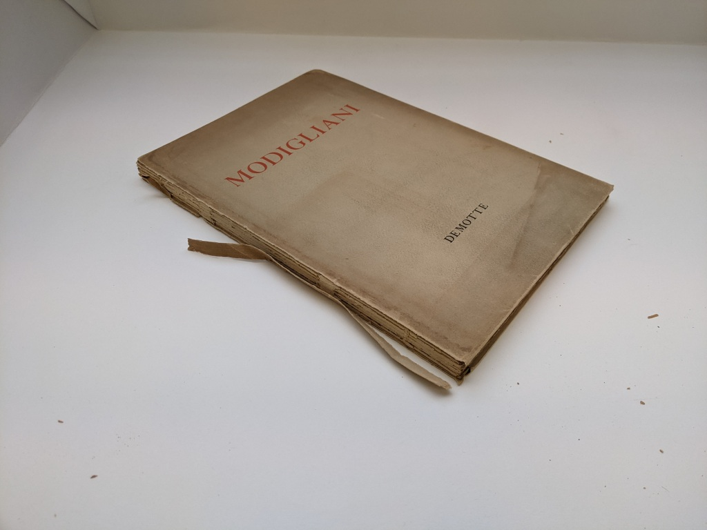 The paper dust jacket cover was very discoloured through dirt. The spine piece of the dust jacket is split along the front shoulder and is missing a section at the top of the spine.