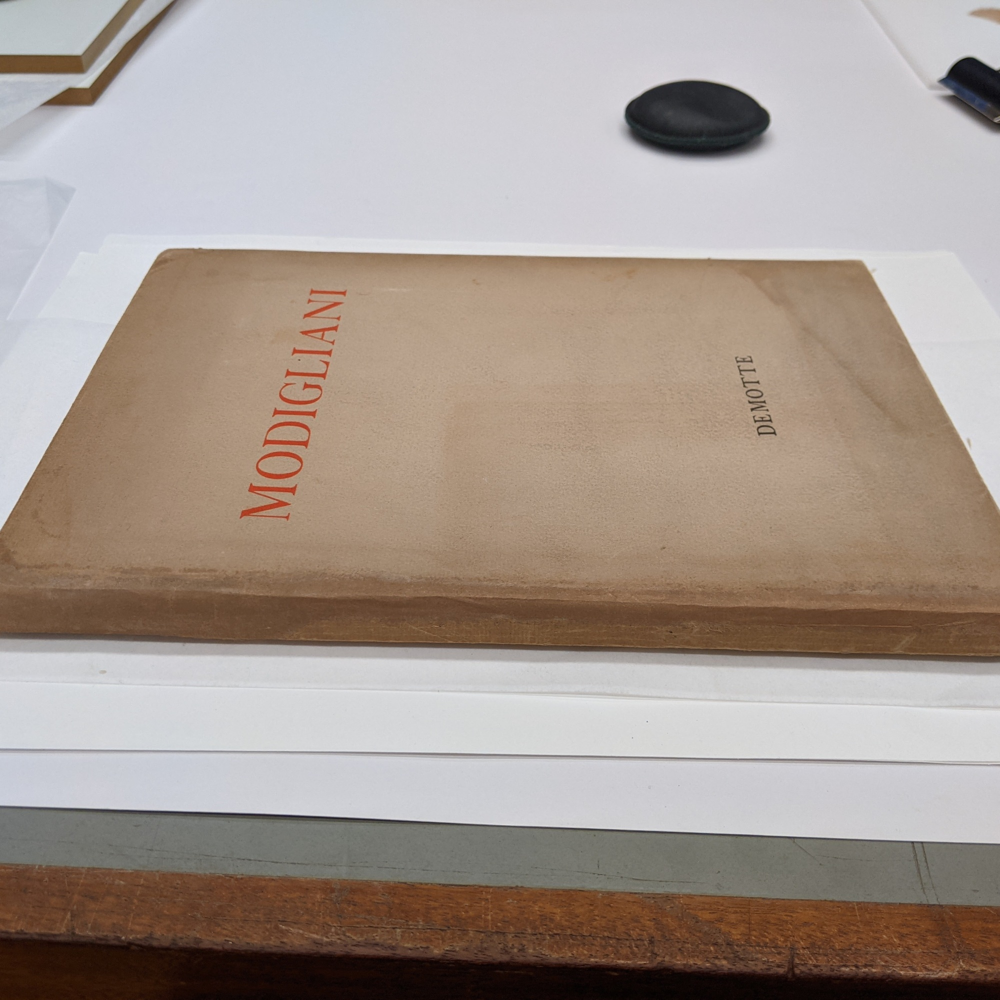 The image shows the finished dust jacket after treatment. The losses have been infilled with toned Japanese paper so that it blends in with the original paper.
